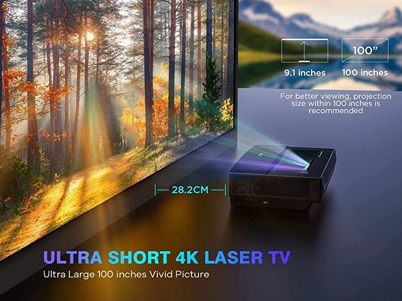 Bomaker 2021 4K Ultra Short Throw Projector | Tri-Laser TV Home Theater Projector with HDR 10, MEMC | 2500 ANSI Lumens | Quiet Operation 25dB | 30,000 Hours | 15,000:1 Dynamic Contrast Ratio