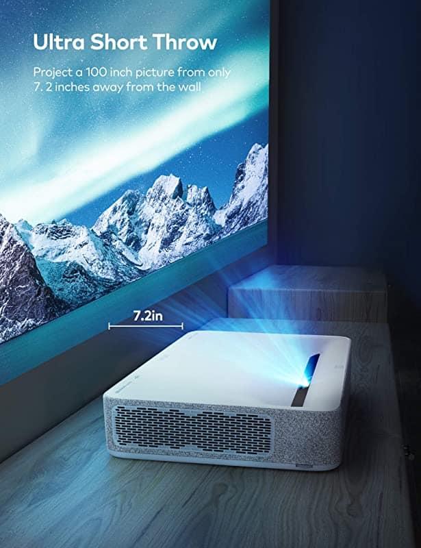 VAVA 4K UST Laser TV Home Theatre Projector | Bright 2500 ANSI Lumens | Ultra Short Throw | HDR10 | Built-in Harman Kardon Sound Bar | ALPD 3.0 | Smart Android System, White
